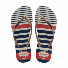 Chinelo Feminino Havaianas Slim Nautical - Atacado - Branco/Rose Gold Metal